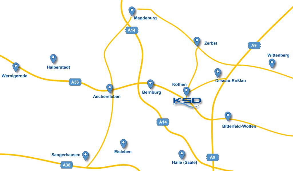 Anfahrtskarte KSD Köthen (Anhalt)