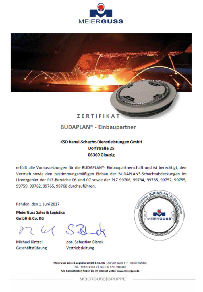Zertifikat Meierguss Einbaupartner